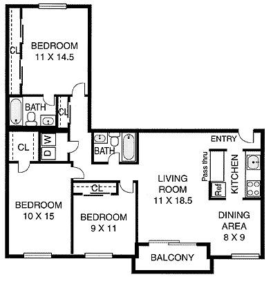 3 Bedroom 2 Bath 1100 2 160