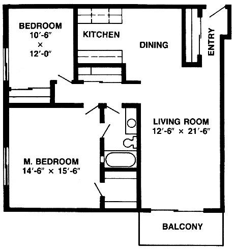 2 bedroom 1 bath 929 870 for 380 square feet floor plan