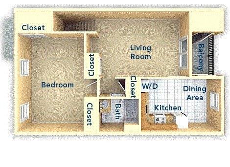 One Bedroom 2nd Floor