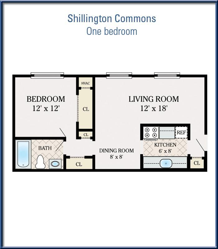 One bedroom at shillington commons apartments 500 500 square foot apartment floor plans