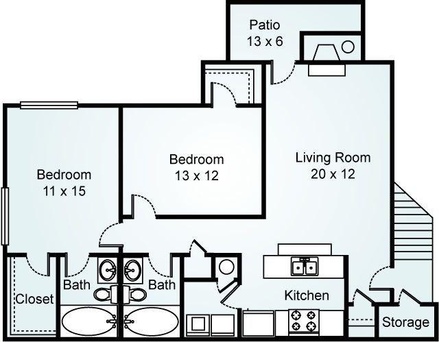 2 Bedroom 2 Bath 1100 767