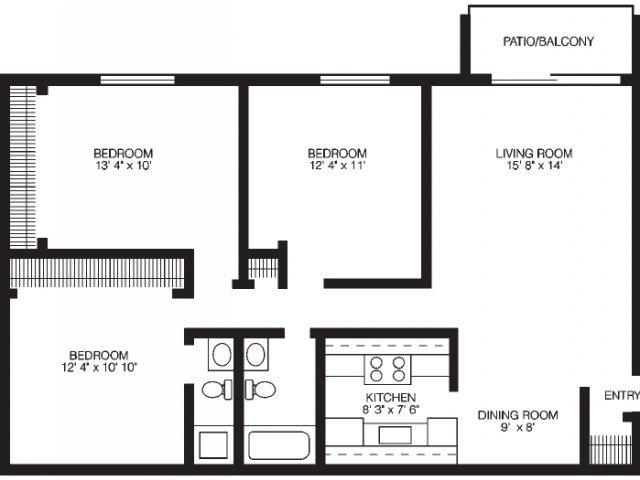 Three bedroom standard situated at the laurels of willow for Standard 3 bedroom house plans