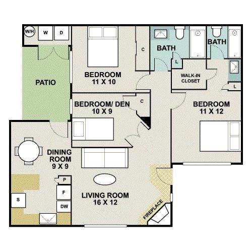 3 Bedroom 2 Bath 1066 899