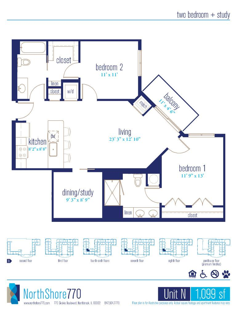 NorthShore 770 floor plan option with balcony