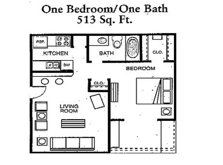 One bedroom one bath at cimarron 500 north judge ely blvd for 500 square feet apartment floor plan