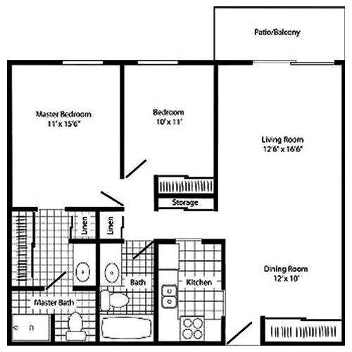2 Bedroom 2 Bath 1104 sq ft $1 030