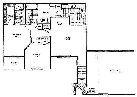 Plan d2 apartment for rent at river oaks west apartments for 1200 post oak floor plans