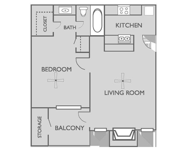 A1 at brooksfield apartments 7577 old corpus christi for 500 square feet apartment floor plan