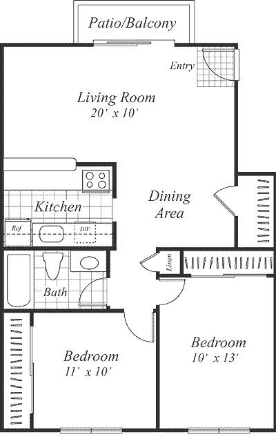 2 Bedroom 1 Bath 864 860