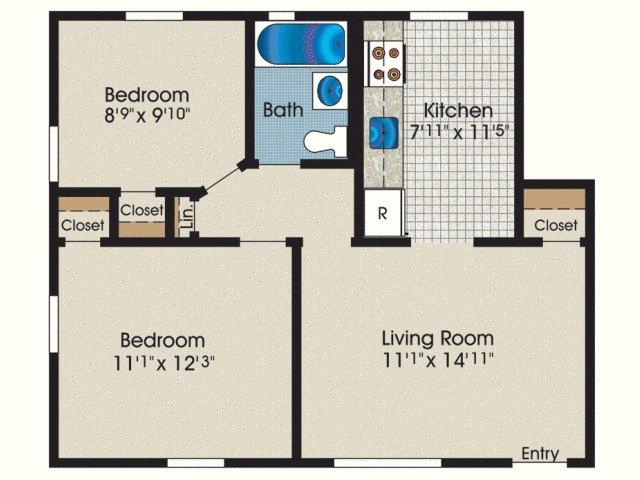 2 Bedroom 1 Bath 600 1 455