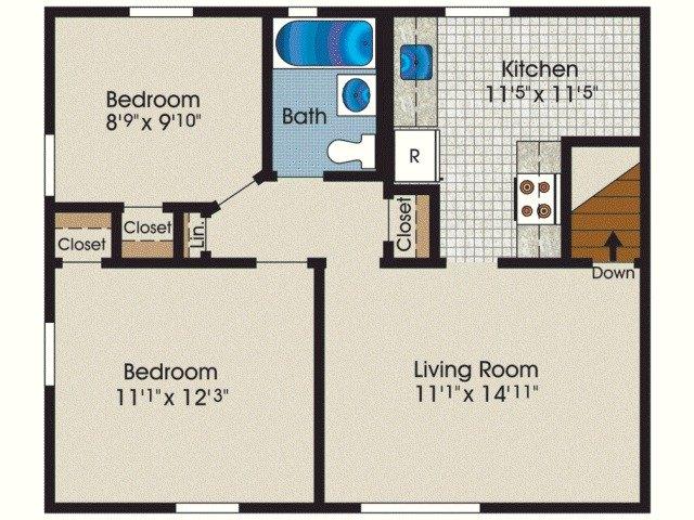 2 Bedroom 1 Bath 635 1 465