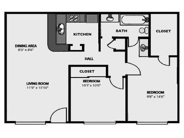 39 e 39 a popular 2br 1bath garden style plan apartment for for Backyard apartment floor plans