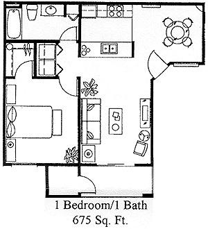 One bedroom at stargate west apartments 2651 west broadway for 675 sq ft floor plan