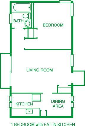 1 Bed w/Eat-in Kitchen
