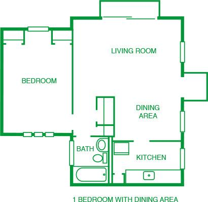 1 Bed w/ Dining Room