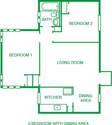 2 Bed w/ Dining Room