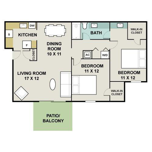 2 bedroom 1 bath 975 939 for Apartment floor plans 2500 sq ft