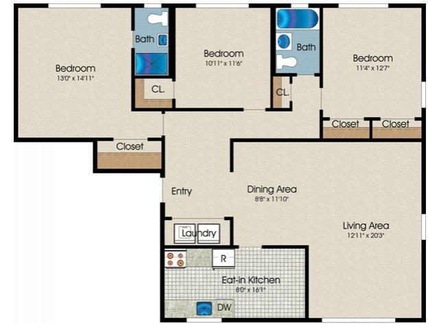 bedroom 2 bath 1330 sq ft situated at oak manor apartments 286